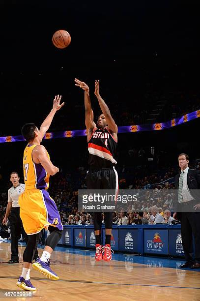 Darius Morris of the Portland Trail Blazers takes a shot against the Los Angeles Lakers at the Citizens Business Bank Arena in Ontario California on...