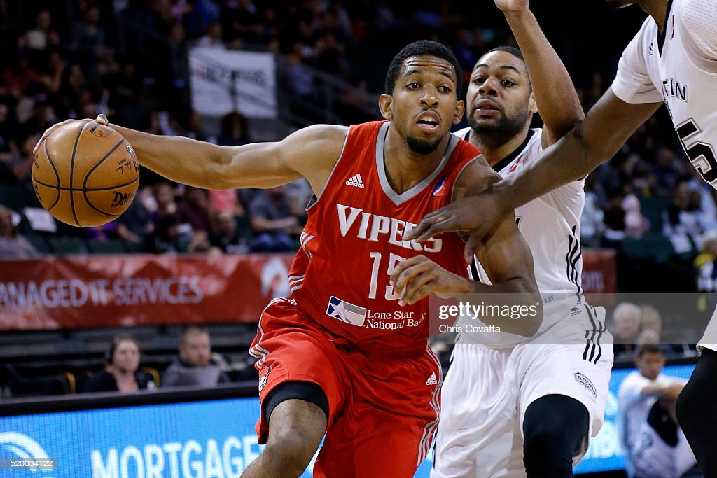 Darius Morris of the Rio Grande Valley Vipers drives around Demetri McCamey of the Austin Spurs during Game Three of the 2016 NBA DLeague Western...