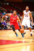 Darius Morris of the Rio Grande Valley Vipers drives past Austin Freeman of the Iowa Energy in an NBA DLeague game on April 14 2014 at the Wells...