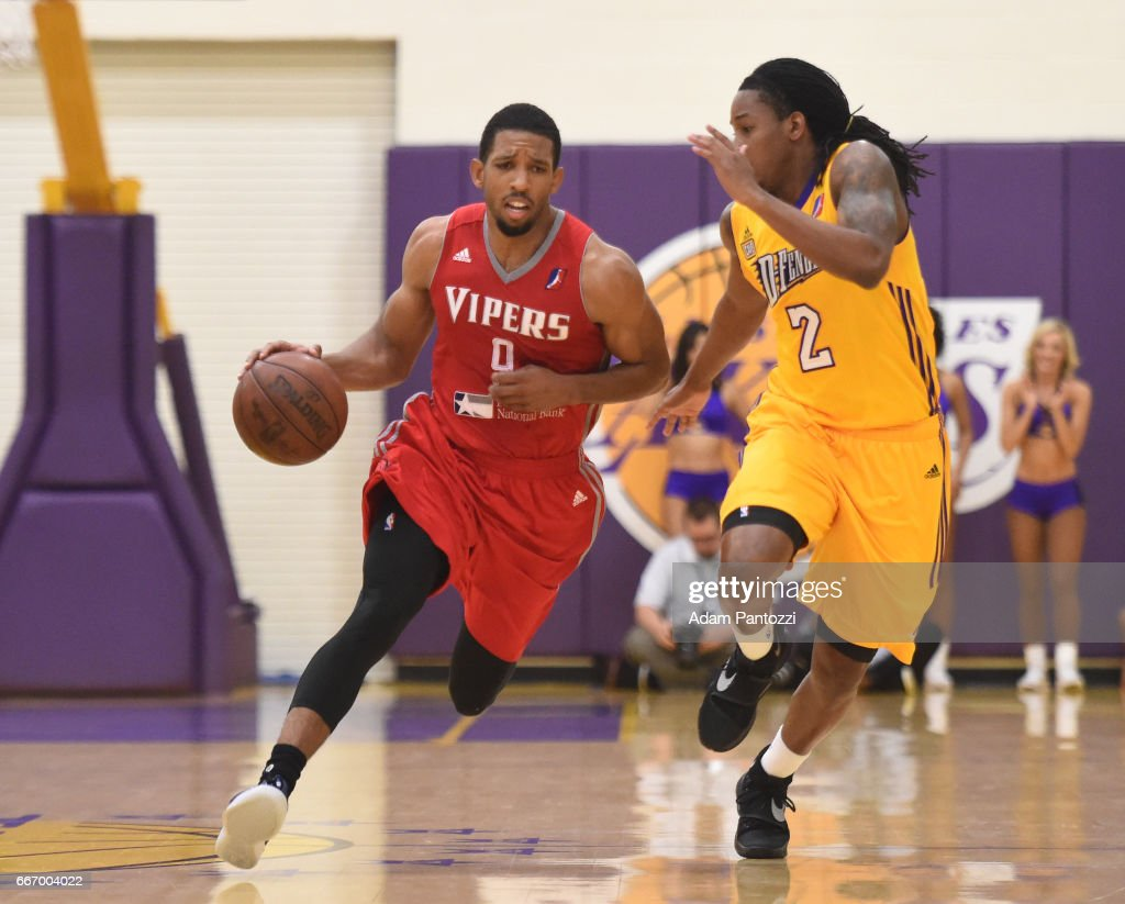 Darius Morris #9 of the Rio Grande Valley Vipers drives to the basket against Kenneth Smith #2 of the Los Angeles D-Fenders during the first round of an NBA D-League playoff game at Toyota Sports Center on April 08, 2017 in El Segundo, California.