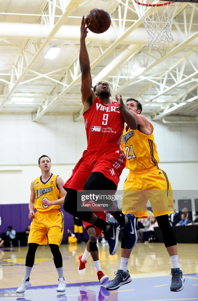 Darius Morris #9 of the Rio Grande Valley Vipers goes to the basket against Travis Wear #21 of the Los Angeles D-Fenders in Game Three of the Western Division SemiFinals on April 10, 2017 at Toyota Sports Center in El Segundo, California.