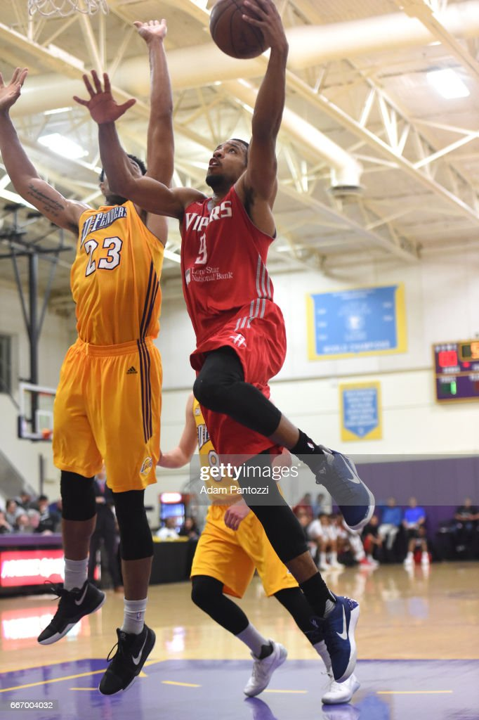 Darius Morris #9 of the Rio Grande Valley Vipers shoots a lay up against the Los Angeles D-Fenders during the first round of an NBA D-League playoff game at Toyota Sports Center on April 08, 2017 in El Segundo, California.