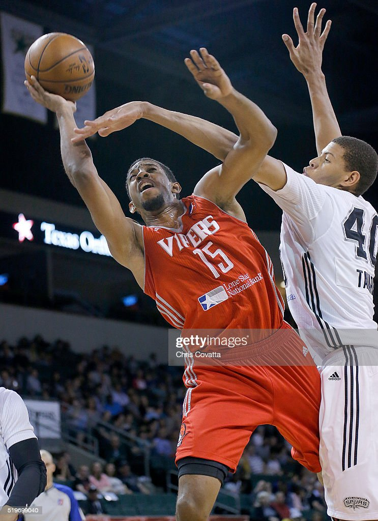 Darius Morris of the Rio Grande Valley Vipers shoots the ball against Walter Tavares of the Austin Spurs at the Cedar Park Center on April 7 2016 in...