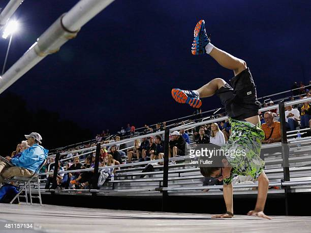 Darius Nakis 10 of Henrietta New York participates in a dance competition for fans during a break in play between the Rochester Rattlers and...