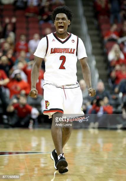 Darius Perry of the Louisville Cardinals celebrates in the game against the Southern Illinois Salukis at KFC YUM Center on November 21 2017 in...