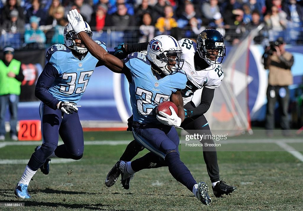 Darius Reynaud #25 of the Tennessee Titans reverses direction on a kickoff return and scores a touchdown against the Jacksonville Jaguars at LP Field on December 30, 2012 in Nashville, Tennessee.