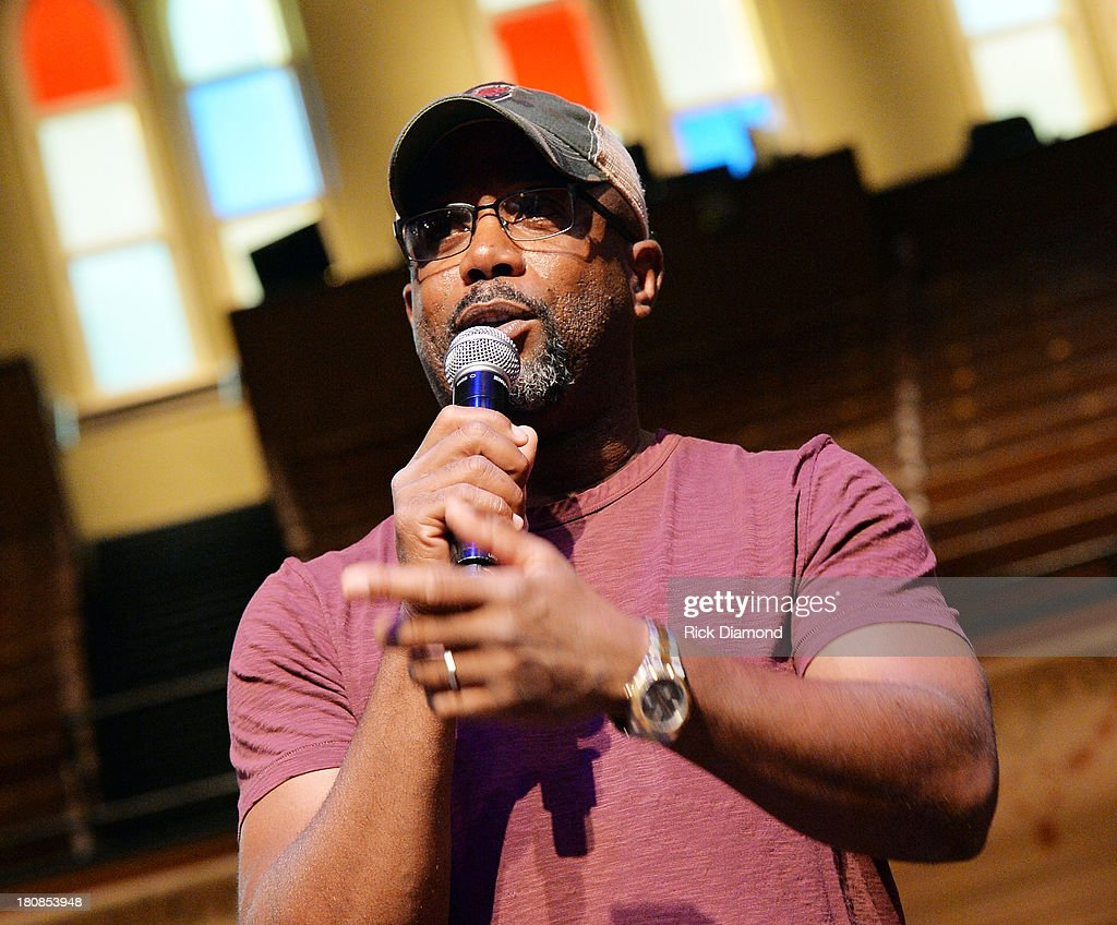 Darius Rucker And Old Crow Medicine Show's Ketch Secor Celebrate No 1 Song 'Wagon Wheel' at the historic Ryman Auditorium on September 16 2013 in...