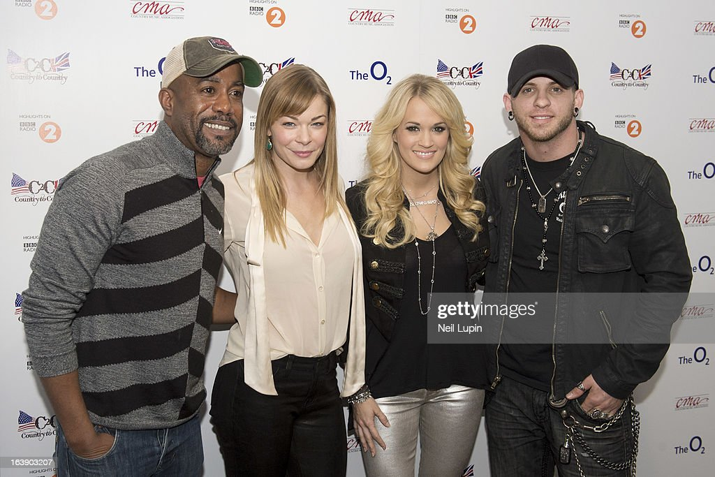 <a gi-track='captionPersonalityLinkClicked' href=/galleries/search?phrase=Darius+Rucker&family=editorial&specificpeople=215161 ng-click='$event.stopPropagation()'>Darius Rucker</a>, LeAnn Rimes, <a gi-track='captionPersonalityLinkClicked' href=/galleries/search?phrase=Carrie+Underwood&family=editorial&specificpeople=204483 ng-click='$event.stopPropagation()'>Carrie Underwood</a> and <a gi-track='captionPersonalityLinkClicked' href=/galleries/search?phrase=Brantley+Gilbert&family=editorial&specificpeople=7035830 ng-click='$event.stopPropagation()'>Brantley Gilbert</a> attend a photo call ahead of performing on Day 2 of C2C: Country To Country Festival 2013 at O2 Arena on March 17, 2013 in London, England.