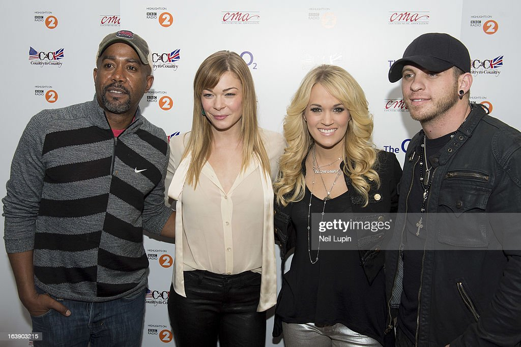Darius Rucker, LeAnn Rimes, Carrie Underwood and Brantley Gilbert attend a photo call ahead of performing on Day 2 of C2C: Country To Country Festival 2013 at O2 Arena on March 17, 2013 in London, England.