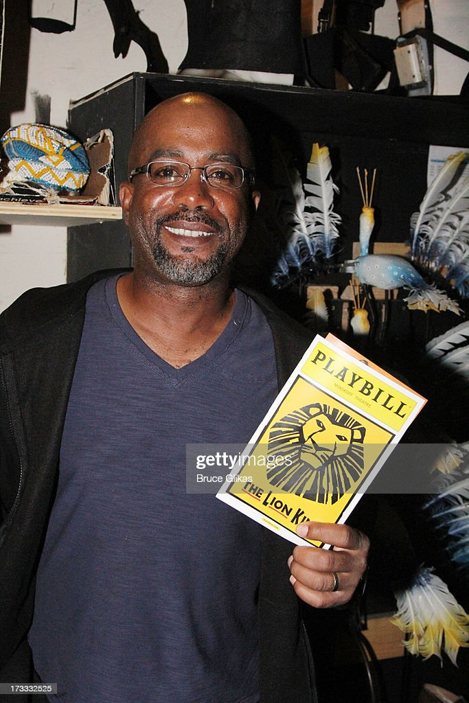 <a gi-track='captionPersonalityLinkClicked' href=/galleries/search?phrase=Darius+Rucker&family=editorial&specificpeople=215161 ng-click='$event.stopPropagation()'>Darius Rucker</a> poses backstage at 'The Lion King' on Broadway at The Minskoff Theater on July 11, 2013 in New York City.