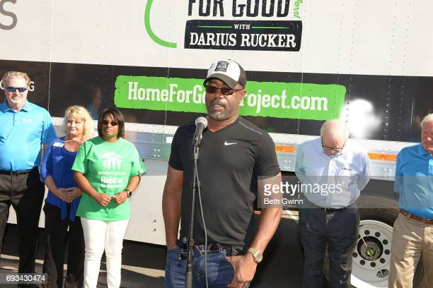 Darius Rucker speaks at Ply Gem's Home for Good press conference with Habitat for Humanity on June 7 2017 in Nashville Tennessee