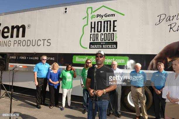 Darius Rucker speaks at Ply Gem's Home for Good press conference with Habitat for Humanity on June 7 2017 in Murfreesboro Tennessee