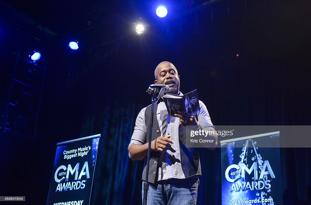 <a gi-track='captionPersonalityLinkClicked' href=/galleries/search?phrase=Darius+Rucker&family=editorial&specificpeople=215161 ng-click='$event.stopPropagation()'>Darius Rucker</a> speaks during the 48th Annual CMA Awards Nominees Announcement at Best Buy Theater on September 3, 2014 in New York City.