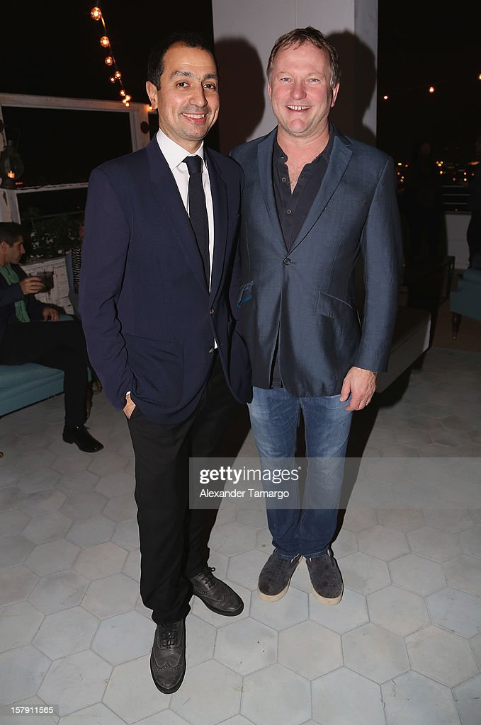 Darius Sanai (L) and Founder/Chief Executive of Soho House <a gi-track='captionPersonalityLinkClicked' href=/galleries/search?phrase=Nick+Jones+-+Entrepreneur&family=editorial&specificpeople=14651213 ng-click='$event.stopPropagation()'>Nick Jones</a> attend the Baku Magazine Party at Soho Beach House during Miami Art Basel on December 4, 2012 in Miami Beach, Florida. Baku Magazine is dedicated to promoting contemporary art and culture in Azerbaijan.