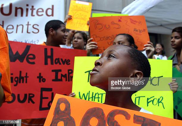 Darius Satchebell 8 from Roxbury a third grader stood with other Boston public school students at a rally in front of the Boston School Department...