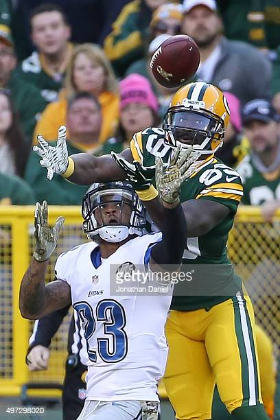 Darius Slay of the Detroit Lions breaks up a pass intended for James Jones of the Green Bay Packers in the fourth quarter at Lambeau Field on...