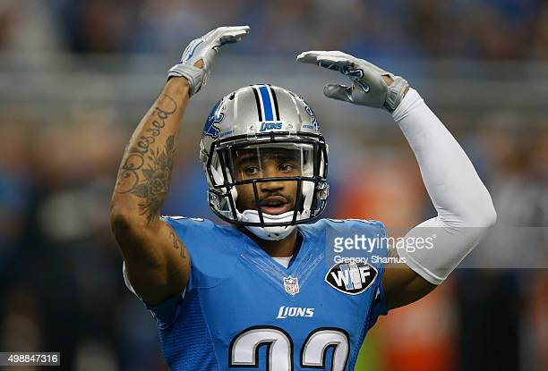 Darius Slay of the Detroit Lions tries to pump the crowd up during the game against the Philadelphia Eagles at Ford Field on November 26 2015 in...