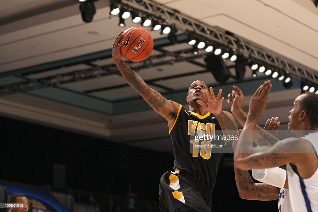 Darius Theus #10 of the VCU Rams shoots against the Memphis Tigers during the Battle 4 Atlantis tournament at Atlantis Resort on November 22, 2012 in Nassau, Paradise Island, Bahamas.
