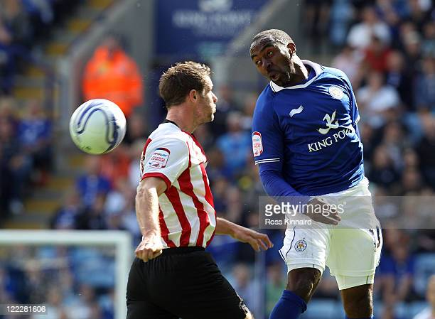 Darius Vassell of Leicester is Challenged by Frazer Richardson of Southampton during the npower Championship match between Leicester City v...