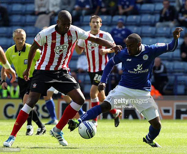 Darius Vassell of Leicester is Challenged by Guly Do Prado of Southampton during the npower Championship match between Leicester City v Southampton...