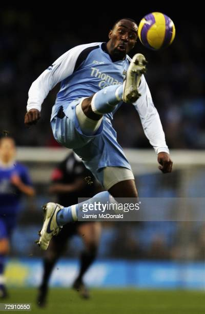 Darius Vassell of Manchester City controls the ball during the Barclays Premiership match between Manchester City and Everton at the City of...