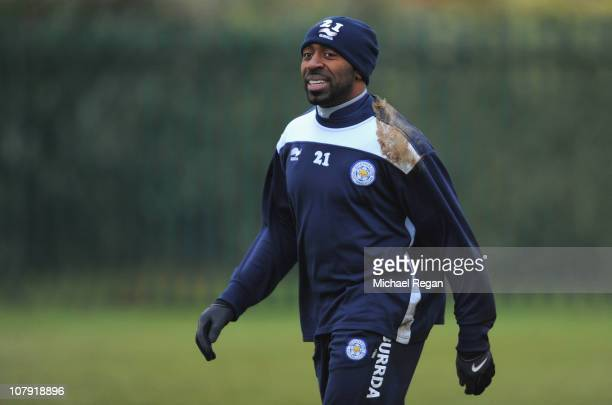 Darius Vassell smiles during the Leicester City training session at the Belvoir Drive training ground on January 7 2011 in Leicester England