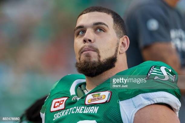 Dariusz Bladek of the Saskatchewan Roughriders on the sideline during the game between the BC Lions and the Saskatchewan Roughriders at Mosaic...
