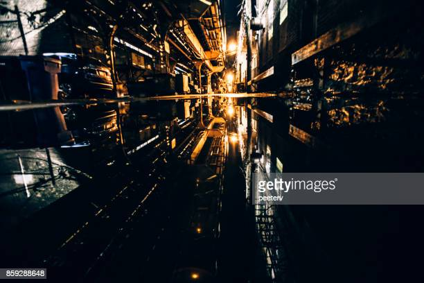 Ruelle sombre reflétée dans la flaque d'eau - Wicker Park, Chicago