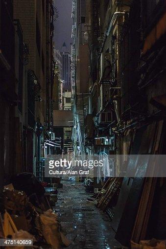 Dark alleyway at night, Hong Kong, China