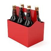 Six pack of dark beer bottles on white background