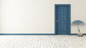 dark blue door with wall and parquet 3d model rendering