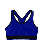 dark blue neon racerback sports bra top, isolated on white background