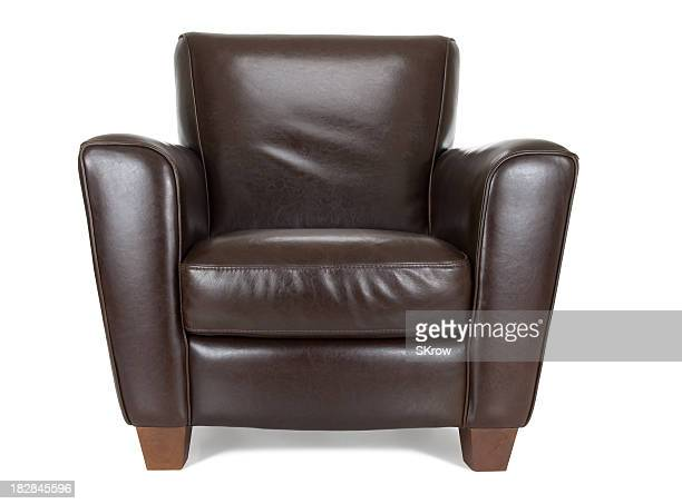 Dark brown leather chair against white background