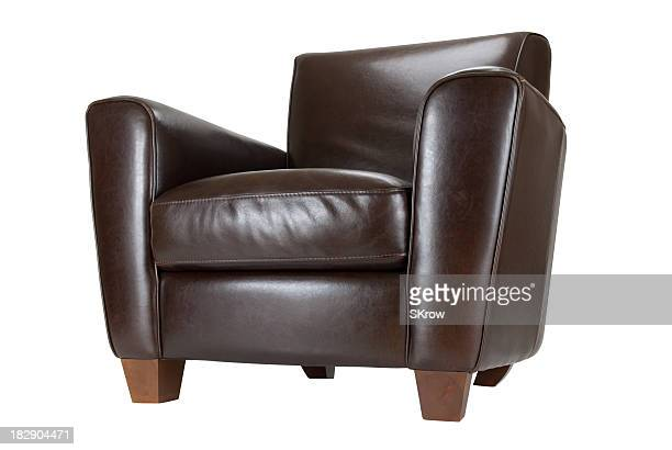 Dark brown leather chair with feet