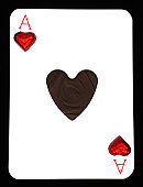 Dark chocolate ace of hearts