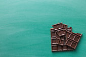 the dark chocolate bars on chalkboard