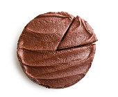 dark chocolate cake on white background