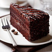 piece of delicious dark chocolate cake with coffee