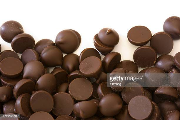 Dark Chocolate Chips Candy frame on White Background
