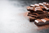 Dark chocolate on a dark background, closeup with place for text, selective focus