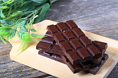 dark chocolate on wood