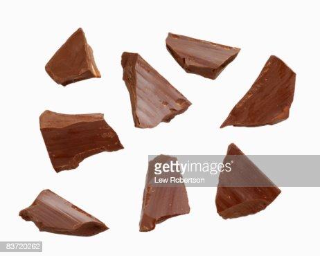 Dark Chocolate Pieces on white