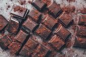 Delicious dark chocolate with cocoa porwder