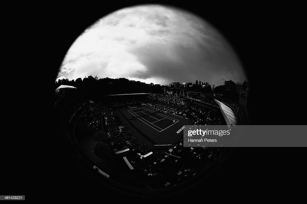A dark cloud covers centre court during day four of the Heineken Open at ASB Tennis Centre on January 9, 2014 in Auckland, New Zealand.