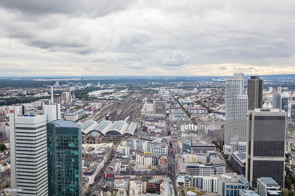Dark clouds above Frankfurt : Stock Photo