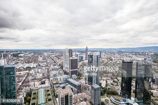 Dark clouds above Frankfurt : Stock Photo