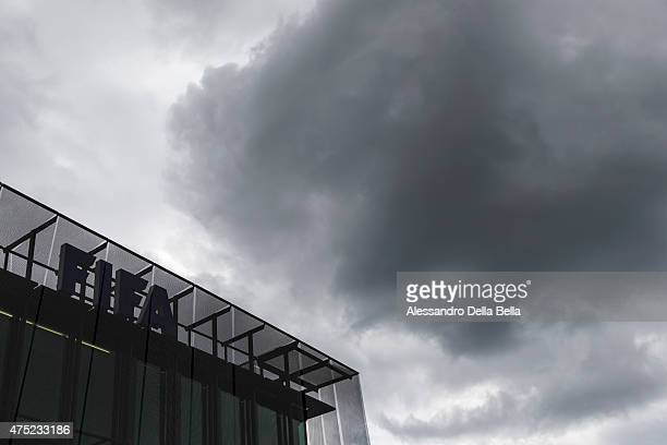 Dark clouds above the FIFA headquarters ahead of the FIFA Post Congress Week Press Conference at the Home of FIFA on May 30 2015 in Zurich Switzerland
