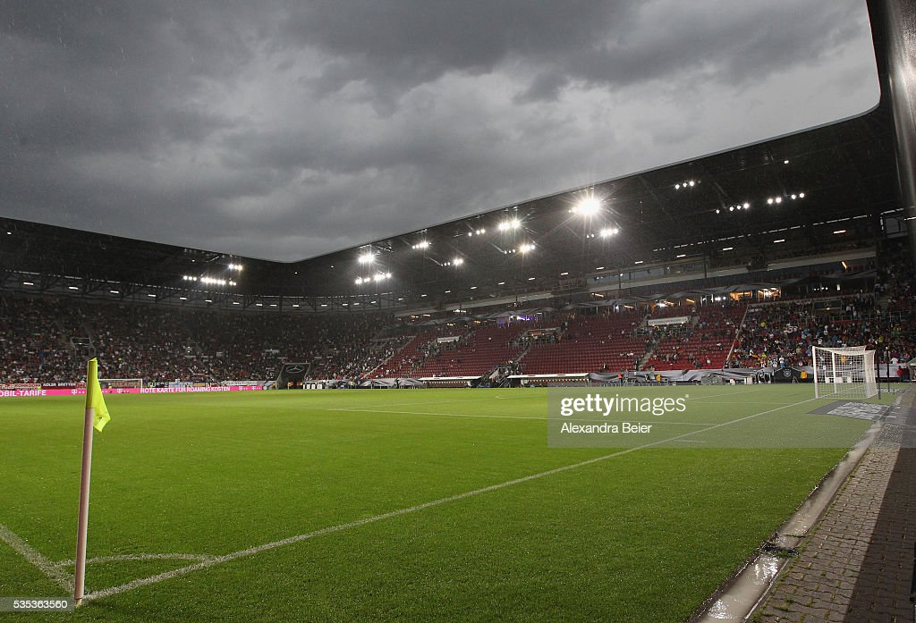 Dark clouds are pictured during a break of the international friendly football match between Germany and Slovakia at WWK-Arena on May 29, 2016 in Augsburg, Germany.