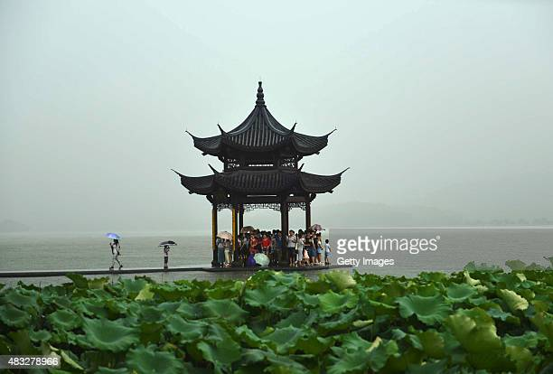 Dark clouds cover the Hangzhou City as Typhoon 'Soudelor' approaches on August 7 2015 in Hangzhou Zhejiang Province of China Typhoon 'Soudelor' will...
