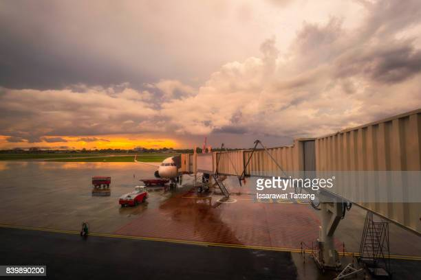 dark clouds of a thunderstorm above an airport